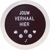 Letterbord Rond - Wit Hout met Zwart Vilt - 25x25 cm - Inclusief 340 letters, cijfers/getallen, symbolen & emoticons - Letterbord met Standaard