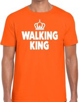 Walking King t-shirt oranje heren - feest shirts heren - wandel/avondvierdaagse kleding L