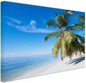 Palmbomenfoto strand Canvas 80x60 cm - Foto print op Canvas schilderij (Wanddecoratie)