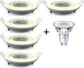 Dimbare Philips GU10 Inbouwspot | 5W Extra warm wit | Wit rond | Set van 5 stuks