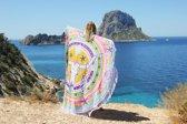 Mycha Ibiza – roundie – rond strandlaken – full color skull – gekleurd – 100% katoen – franje