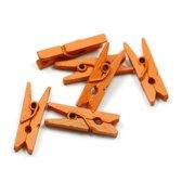 Mini Wasknijpers - Hout - Oranje - 3 cm - 100 stuks