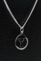 Zilveren Letter Y ketting hanger - rond