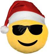 Emoji kussen/knuffel - cool - kerst