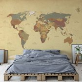 Fotobehang Sepia World Map | VEXL - 208cm x 146cm | 130gr/m2 Vlies