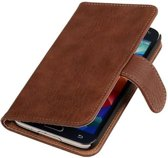 Bruin Hout Samsung Galaxy Core Hoesjes Book/Wallet Case/Cover