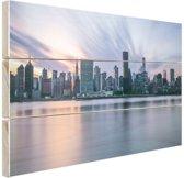 FotoCadeau.nl - Manhattan New York skyline zonsondergang Hout 120x80 cm - Foto print op Hout (Wanddecoratie)