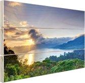 Meer met bergen  Hout 80x60 cm - Foto print op Hout (Wanddecoratie)