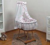 Rotan baby wiegje - Incl. beddengoedset, hemel met sluier, onderstel met wieltjes - 100% katoen - roze hartjes