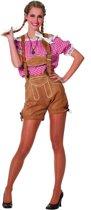 Oktoberfest Dames Blouse tirol - country rood - wit geblokt Maat 36