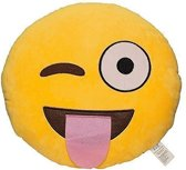 Emoji Emoticon Smiley Kussen-Tong Knipogen