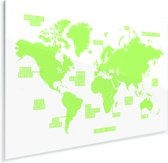 Knalgroene eenvoudige wereldkaart Plexiglas 90x60 cm - Foto print op Glas (Plexiglas wanddecoratie)