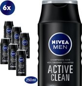 NIVEA MEN Active Clean Shampoo - 6 x 250 ml - Voordeelverpakking