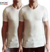 DICE 2-pack heren T-shirt V-hals wit maat L