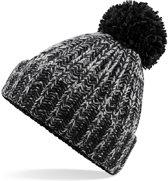 Senvi Twist-Knit Pom Pom Beanie Kleur: Zwart/Grijs (One size fits all)