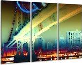 Canvas schilderij Steden | Geel, Blauw, Rood | 120x80cm 3Luik