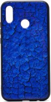Teleplus Huawei P Smart 2019 Pane Marble Patterned Case Blue + Nano Screen Protector hoesje
