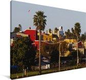 Kleurrijke huizen en palmen in Santa Cruz Californië Canvas 180x120 cm - Foto print op Canvas schilderij (Wanddecoratie woonkamer / slaapkamer) XXL / Groot formaat!