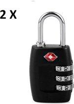 TSA Slot Kofferslot - Zwart 2 Stuks - TSA Cijferslot / Cijferhangslot / TSA Hangslot Met Cijfercode - Combinatieslot Reisslot / Code Slot Voor Koffer & Bagage