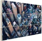 Times Square van boven Hout 120x80 cm - Foto print op Hout (Wanddecoratie)