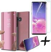 Spiegel Hoesje voor Samsung Galaxy S10 Plus Lederen Wallet Book Case Roségoud + Screenprotector PET Glas Folie Transparant van iCall