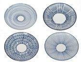 Pols Potten Vario - Schalen - Blue Stripes - Set van 4