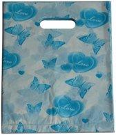 Plastic tasjes blauwe vlinders 25x20 cm (100 stuks)