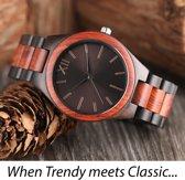 Houten schakelband horloge – Handgemaakt van twee soorten bamboehout - Bruine wijzerplaat - H022