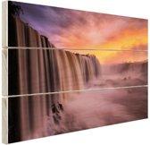 Iguazu waterval Hout 60x40 cm - Foto print op Hout (Wanddecoratie)