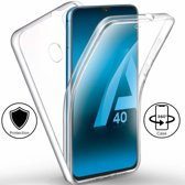 Ntech Samsung Galaxy A40 Dual TPU Case hoesje 360° Cover 2 in 1 Case ( Voor en Achter) Transparant