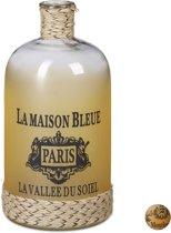 relaxdays - decoratieve fles met opdruk en touw - vintage stijl - bloemenvaas