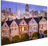 Huizen San Francisco Aluminium 90x60 cm - Foto print op Aluminium (metaal wanddecoratie)