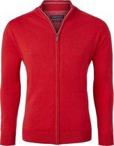 Casa Moda heren vest katoen - rood (met rits) -  Maat M