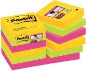 Post-it® Super Sticky Notes, Kleurenset Rio, Canary Yellow™, Neon groen, Fuchsia - 12 blokken