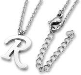 Amanto Ketting R - Unisex - 316L Staal PVD - Letter - 16x11mm - 50cm