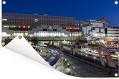 Het station van Sapporo-shi in de nacht Tuinposter 180x120 cm - Tuindoek / Buitencanvas / Schilderijen voor buiten (tuin decoratie) XXL / Groot formaat!
