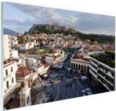 Monastiraki plein Athene Glas 90x60 cm - Foto print op Glas (Plexiglas wanddecoratie)