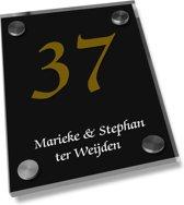 Naambordje voordeur een glashelder naambord zwart, 20x25cm