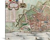 De oude en historische stadskaart van Nijmegen Canvas - Plattegrond 30x20 cm - klein - Foto print op Canvas schilderij (Wanddecoratie woonkamer / slaapkamer)
