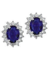 The Jewelry Collection Oorknoppen Zirkonia En Synthetische Saffier - Zilver Gerhodineerd
