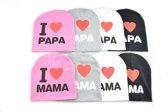 Kindermutsen, set van 2, I love papa, I love mama, grijs