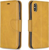 Let op type!! Retro Lambskin Texture Pure Color Horizontal Flip PU Leather Case for iPhone X / XS  with Holder & Card Slots & Wallet & Lanyard(Yellow)