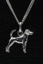 Zilveren Jack russell terrier parson gladhaar met staart ketting hanger - klein