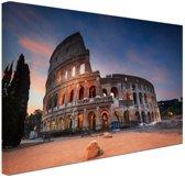 Colosseum in de nacht Canvas 60x40 cm - Foto print op Canvas schilderij (Wanddecoratie woonkamer / slaapkamer) / Steden Canvas Schilderijen