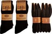 Noorse Sokken Zwart - 6 paar - Maat 39-42