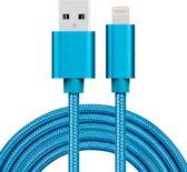 2m 3A geweven stijl metalen kop 8 pins USB data / oplader kabel, voor iPhone XR / iPhone XS MAX / iPhone X & XS / iPhone 8 & 8 Plus / iPhone 7 & 7 Plus / iPhone 6 & 6s & 6 Plus & 6s Plus / iPad (blauw)