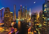 Fotobehang City Dubai Skyscraper Night | XXL - 312cm x 219cm | 130g/m2 Vlies