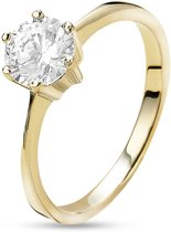 Twice As Nice ring in 18kt verguld zilver, solitaire Wit 54