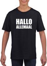 Hallo allemaal tekst zwart t-shirt voor kinderen M (134-140)