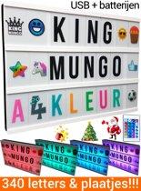 Lightbox A4 Kleur + 340 light box letters en symbolen (oa kerst) | incl batterijen & USB | King Mungo
